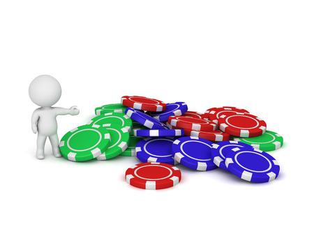 3D karakter met een stapel van kleurrijke poker chips. Geïsoleerd op een witte achtergrond.