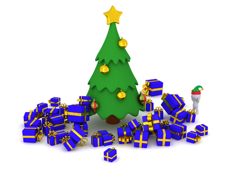 it is isolated: 3D character wearing an elf hat standing next to a decorated cartoonish Christmas tree with many wrapped gifts under it. Isolated on white background. Stock Photo