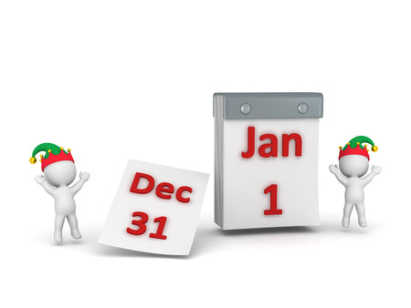 january 1st: Two 3D characters wearing elf hats cheering around a tear-off calendar showing December 31st and January 1st. Isolated on white background. Stock Photo