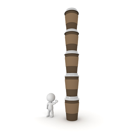 takeaway: Small 3D character showing a tall stack of take-away coffee cups. Isolated on white background.