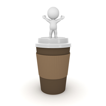 arms raised: Small 3D character standing with arms raised on top of a large take-away coffee cup. Isolated on white background. Stock Photo