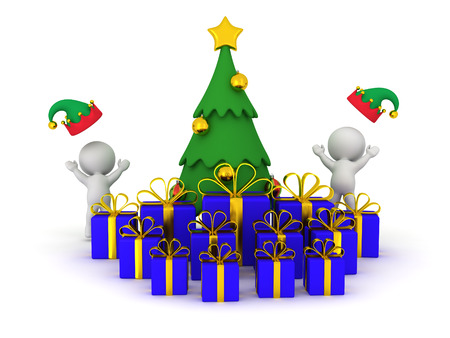 glee: 3D characters with elf hats cheering around decorated Christmas tree and wrapped gifts. Isolated on white background. Stock Photo