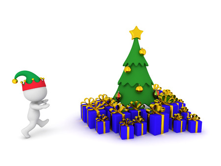 goodies: 3D character with elf hat running toward Christmas tree with wrapped gifts. Isolated on white background. Stock Photo