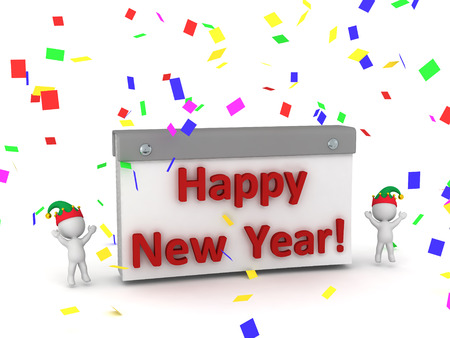 tare: Two 3D characters wearing elf hats cheering around a calendar showing Happy New Year. Isolated on white background. Stock Photo