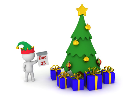 december 25th: 3D character holding a calendar showing December 25th, standing next to a Christmas tree with wrapped gifts. Isolated on white background.