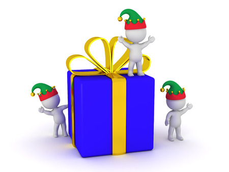 goody: Small 3D characters with elf hats standing near a large wrapped gift box. Isolated on white background. Stock Photo