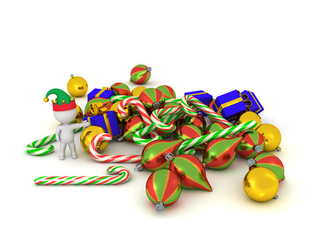 goodies: 3D character with elf hat showing a pile of Christmas goodies such as colorful globes and candy canes. Isolated on white background.
