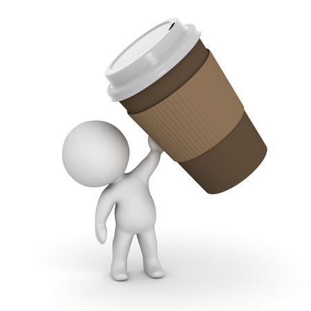 takeaway: Small 3D character holding up a large paper take-away coffee cup. Isolated on white background.