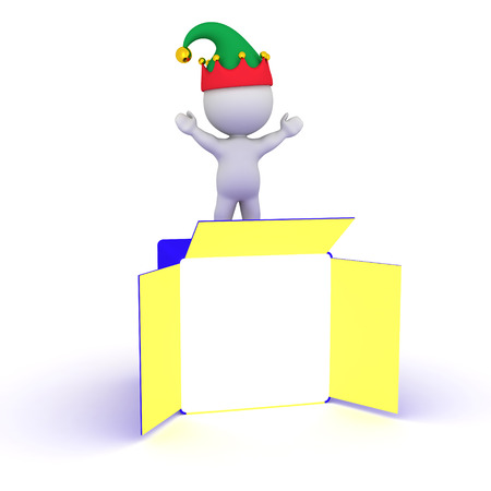 goodies: 3D character with elf hat standing on a large open gift box. Isolated on white background.