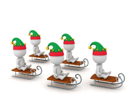 joyride: 3D Characters wearing elf hats riding sleds. Isolated on white background. Stock Photo