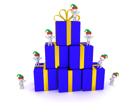 goodies: Small 3D characters standing on a stack of wrapped gift boxes. Isolated on white background.