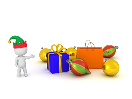goodies: 3D character with elf hat showing gifts and colorful globes. Isolated on white background. Stock Photo