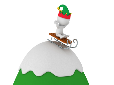 snow sled: 3D character wearing an elf hat riding a sled down a snow covered cartoonish mountain. Isolated on white background. Stock Photo