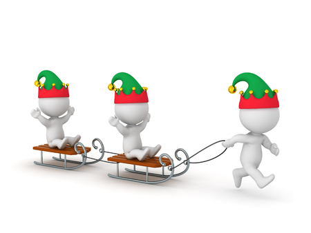 joyride: 3D wearing elf hats character is pulling other characters riding sleds. Isolated on white background.