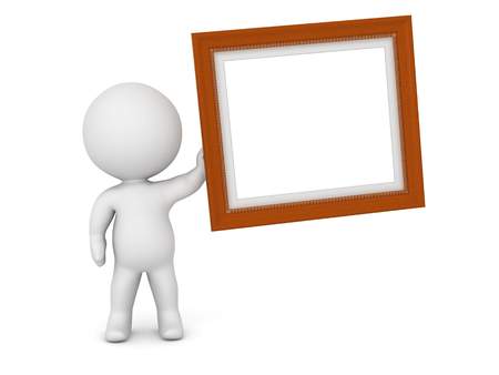 acknowledgment: 3D character holding up a large decorated diploma frame with empty white. Isolated on white background.