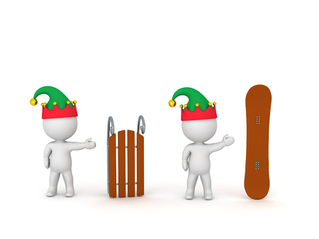 ski slope: 3D character showing a sled and character showing a snowboard. Isolated on white background.