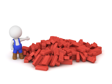 3D character wearing blue overalls showing a large pile of red bricks. Isolated on white background.
