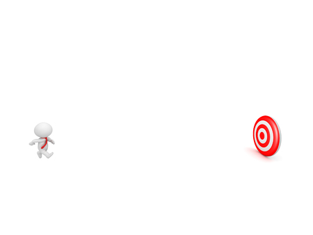 bulls eye: 3D character wearing red tie running toward a red bulls eye target. Isolated on white background.