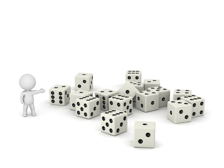 lucky man: 3D character showing a pile of large dice. Isolated on white background. Stock Photo