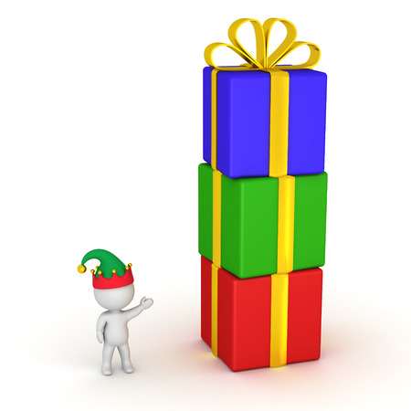 goody: 3D character with elf hat showing a stack of colorful wrapped gift boxes. Isolated on white background. Stock Photo