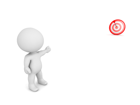 intentions: 3D character pointing toward a bulls eye target in the distance. Isolated on white background. Stock Photo