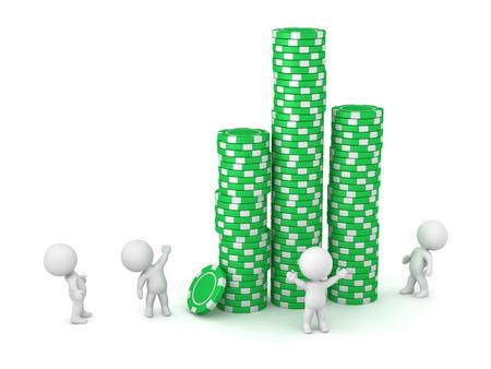 Kleine 3D-personages kijken op hoge stapels van grote groene poker chips. Geïsoleerd op een witte achtergrond.
