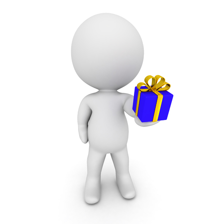 giving gift: 3D character giving a small wrapped gift box. Isolated on white background. Stock Photo