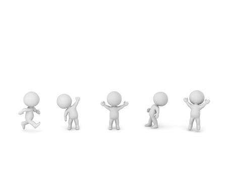 small people: Several small 3D characters in various positions. Isolated on white background.