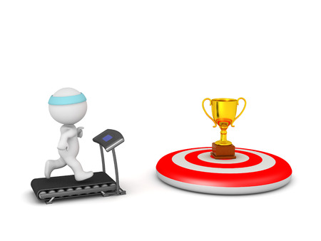 bulls eye: 3D character jogging on a treadmill with a golden trophy goal on a red bulls eye target. Isolated on white background.