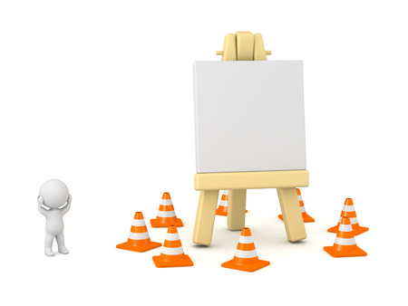 artisan: 3D character showing an artsy easel surrounded by orange cones. Creative block concept. Isolated on white background.