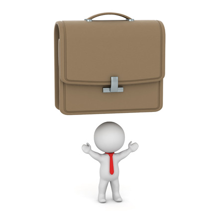 him: 3D character having a large briefcase above him. Isolated on white background.