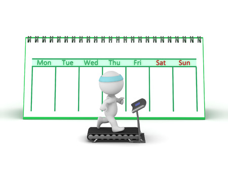calories: 3D Character running on a treadmill with a large week calendar behind him. Isolated on white background.