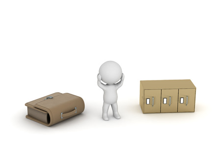 archiving: 3D character is stressed, having a briefcase and an archiving cabinet next to him. Isolated on white background. Stock Photo