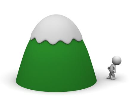 montañas caricatura: Los pequeños caracteres 3D está mirando hacia arriba en una montaña de dibujos animados cubierto de nieve. Aislado en el fondo blanco. Foto de archivo