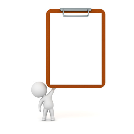 clipboard isolated: Small 3D character holding up a large empty clipboard. Isolated on white background.