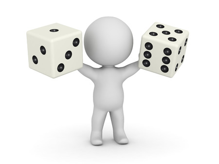 speculate: 3D character holding up two large dice. Isolated on white background.