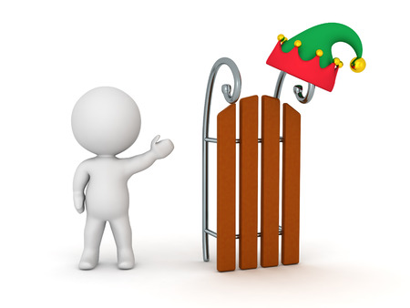 it is isolated: 3D character showing a large sled with an elf hat on it. Isolated on white background.