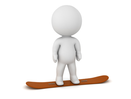 slopes: A 3D character standing on a snowboard. Isolated on white background.
