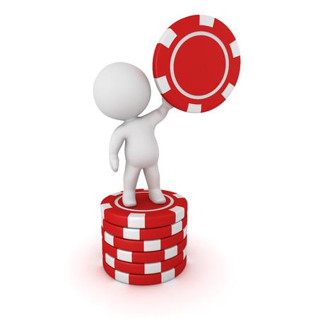 Een 3D-teken staande op een kleine stack van poker chips, en het houden van een rode poker chip. Geïsoleerd op een witte achtergrond. Stockfoto