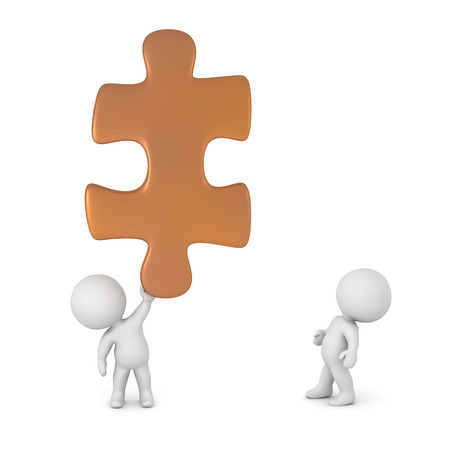 unite: Two small 3D characters and a large puzzle piece. Isolated on white background.