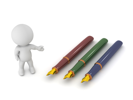 prose: A 3D character showing three fountain pens. Isolated on white background. Stock Photo