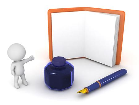 Un personnage en 3D montrant un agenda ouvert, plus un stylo et d'un pot d'encre. Isolé sur fond blanc. Banque d'images - 58557200