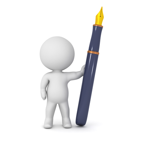 prose: A 3D character and a large fountain pen. Isolated on white background.