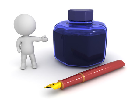 A 3D character showing a large ink pot and a fountain pen. Isolated on white background.