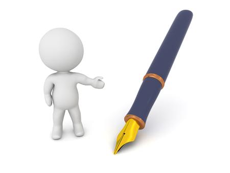 garabatos: Un personaje 3D que muestra una pluma estilogr�fica. Aislado en el fondo blanco.