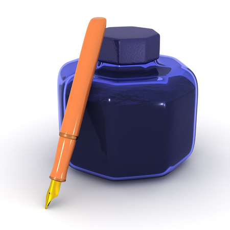 shorthand: A 3D ink pot and a fountain pen. Isolated on white background. Stock Photo