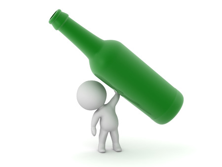 sip: 3D character holding up a large green bottle. Isolated on white background.