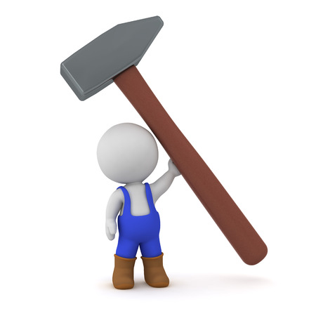 fixer: 3D character holding up a large hammer. Isolated on white background.