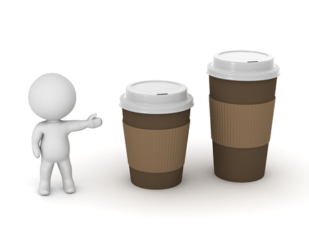 takeaway: 3D character showing two take-away coffee cups. One is larger. Isolated on white background.