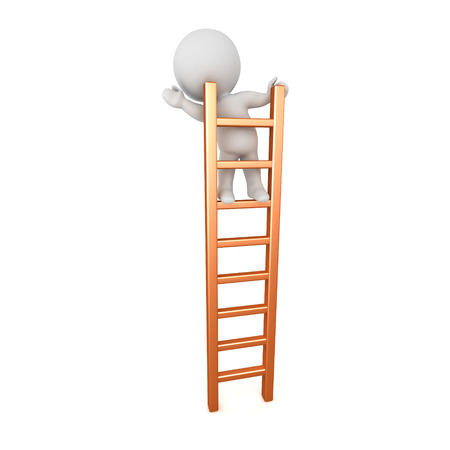 ascent: 3D character standing and waving on a ladder. Isolated on white background.